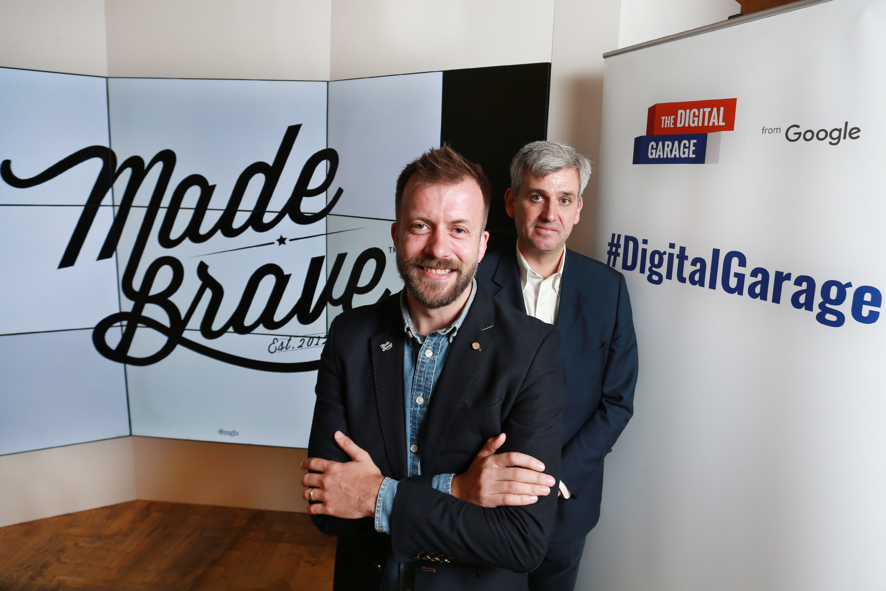 founder of madebrave, Andrew Dobbie with Peter Barron, VP of Communications and Public Affairs at Google UK.
