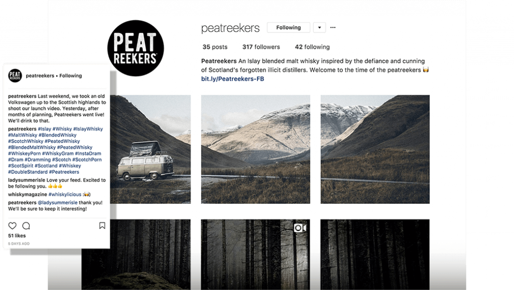 Peatreekers Instagram homepage with photography of mountains and trees.