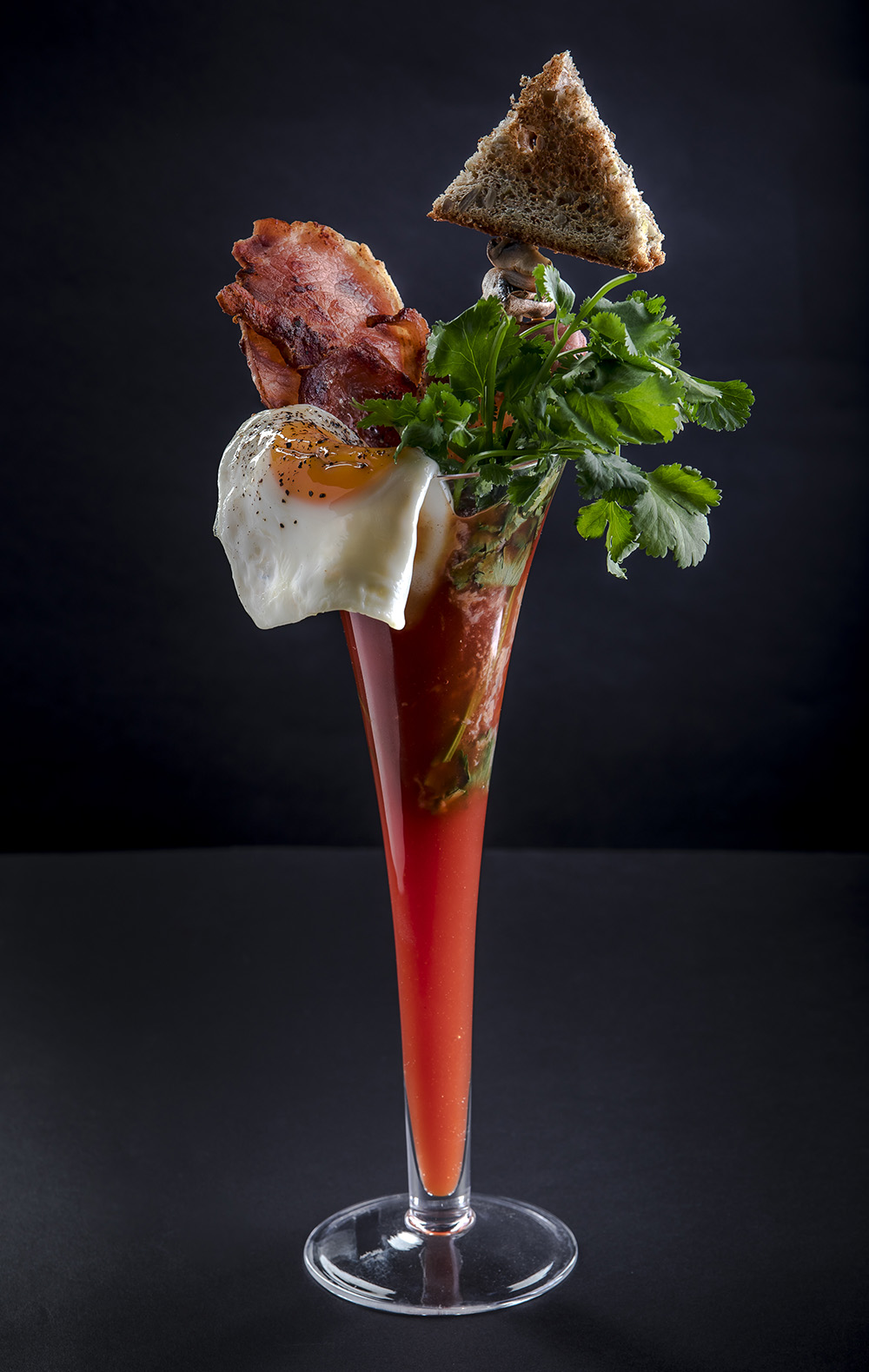 bloody mary cocktail with full breakfast garnish